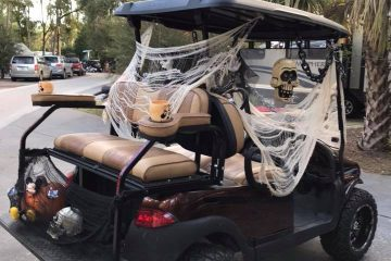 Golf cart at Fort Wilderness done up with Halloween decorations